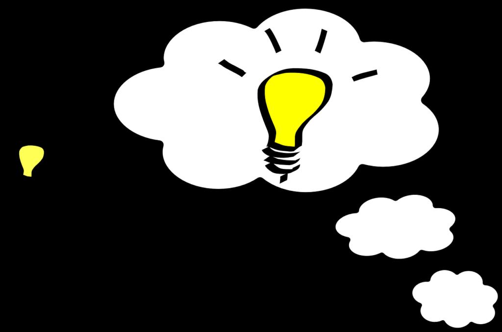 アイディアが浮かんだことを表す電球