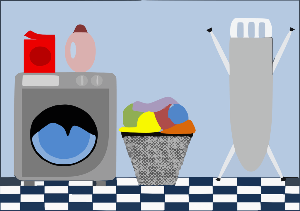 洗濯機と洗い物があるランドリースペース